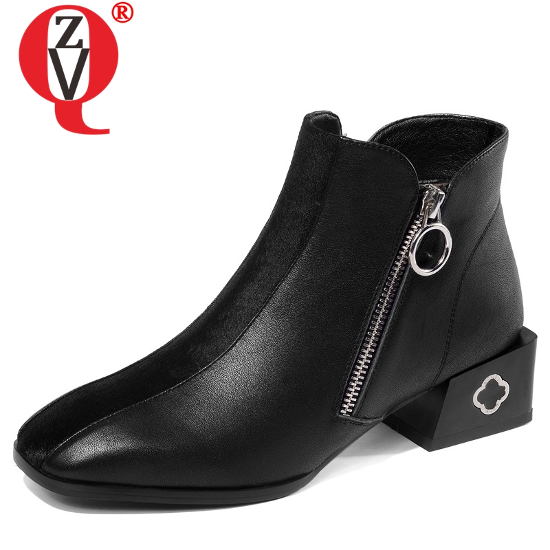 ZVQ 2019 winter newest fashion square toe high quality genuine leather women shoes outside med square