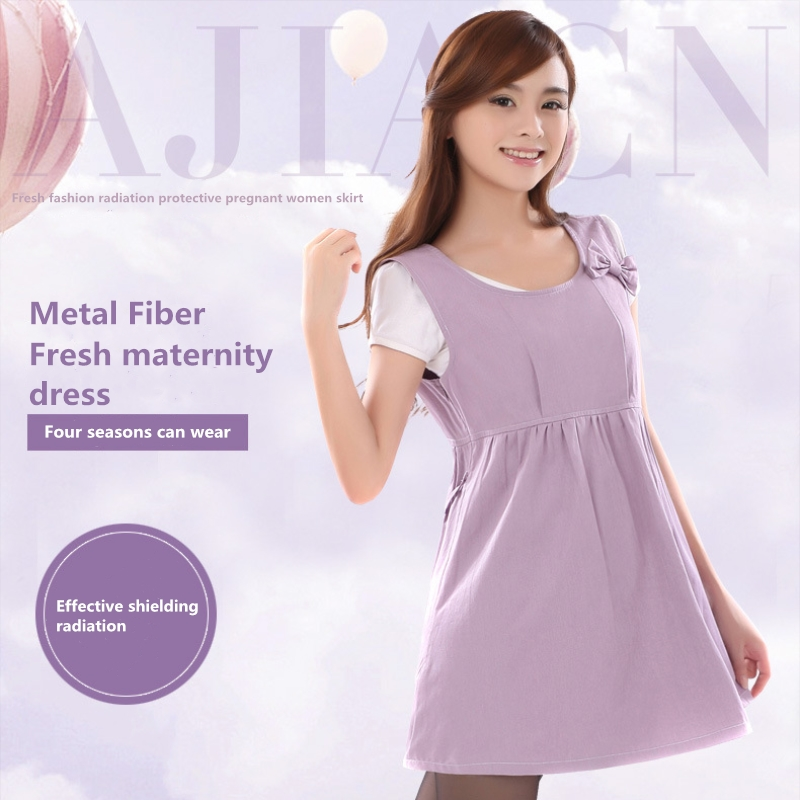 1c9b103d76989 EMF shielding Four seasons to wear solid color pregnant woman dress WIFI  computer radiation protection metal fiber clothing