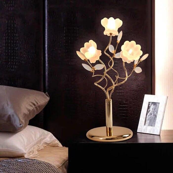 Настольная лампа ZYY, в европейском стиле, с украшением в виде цветов, G4