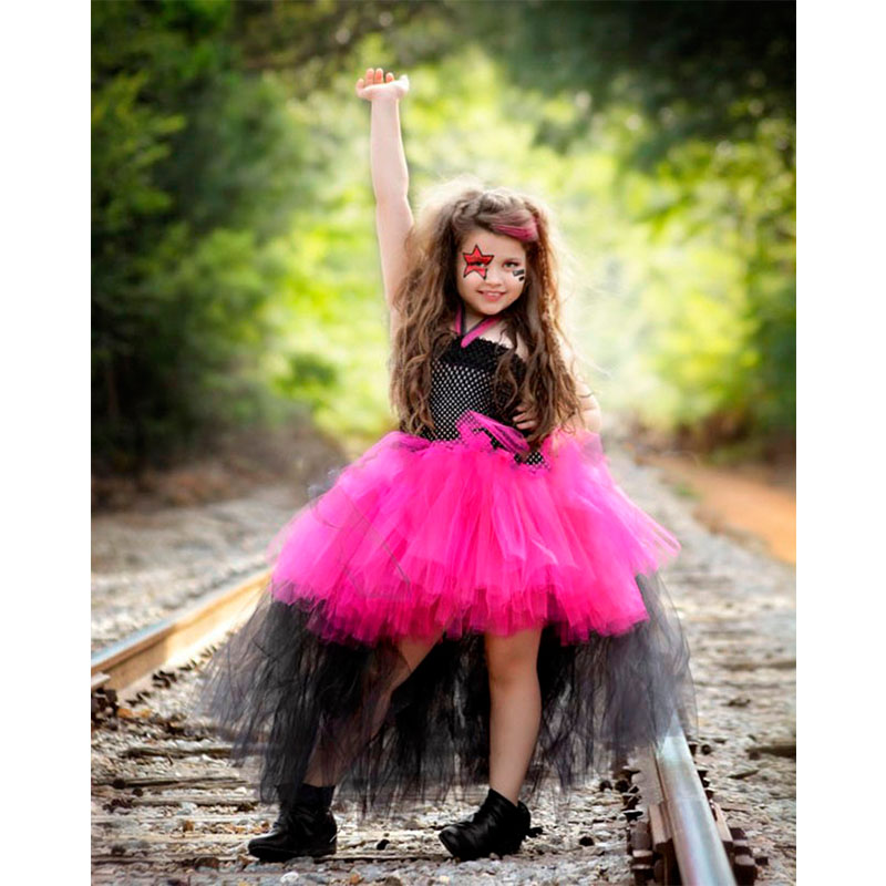 Girls Halloween Tutu Dress Rock Roll Star Cosplay Theme Party Girls Ball Gown Tailing Irregular Vestidos For Photo props 2-10Y 4pcs gothic halloween artificial devil vampire teeth cosplay prop for fancy ball party show