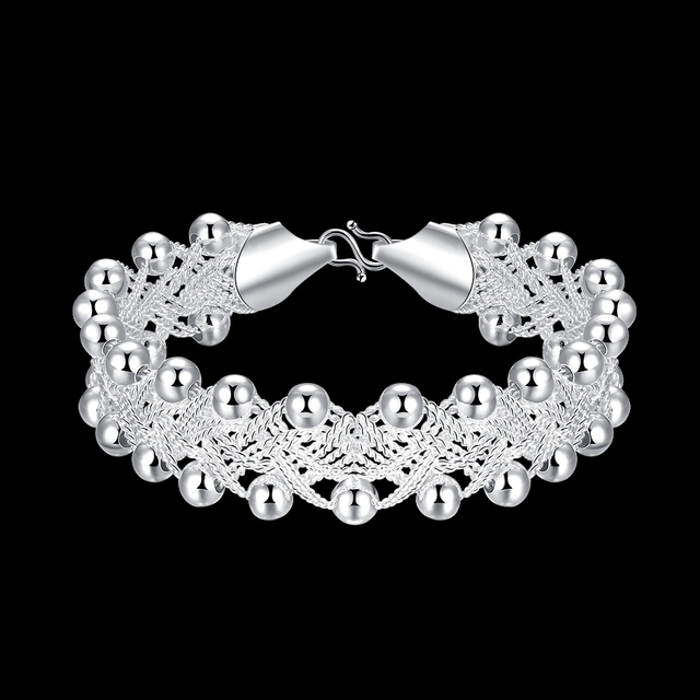Hot Sales Promotions! Hiphop Punk Style Bangles Bracelets Nice 925 Sterling Silver Rock Design Ball Beads Jewelry Top Quality 1