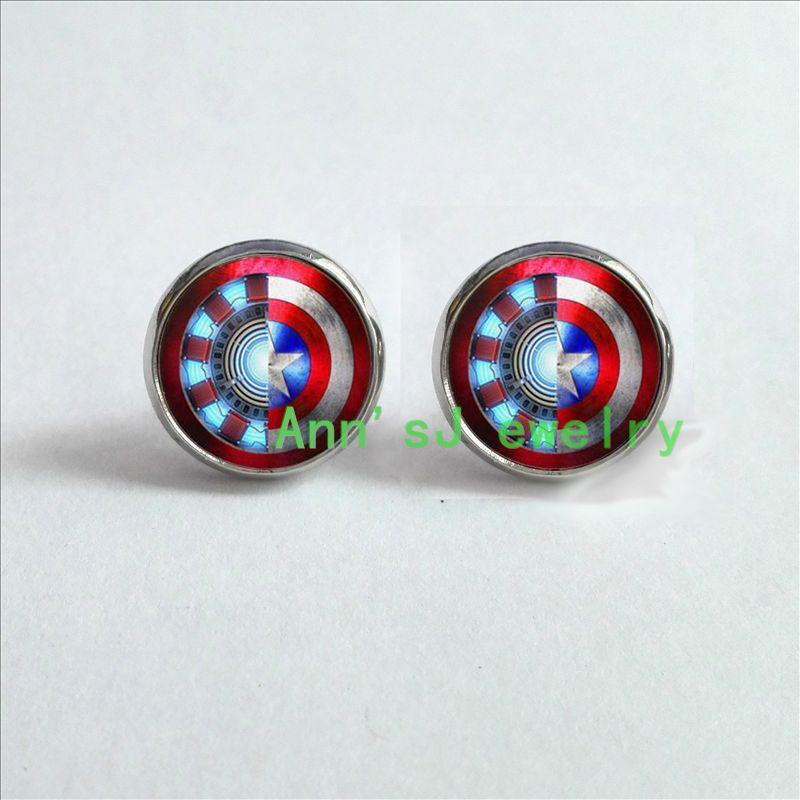 HZ4-00259 1pair Iron Man Captain ear nail America Earrings jewelry glass ear stud Cabochon Earrings