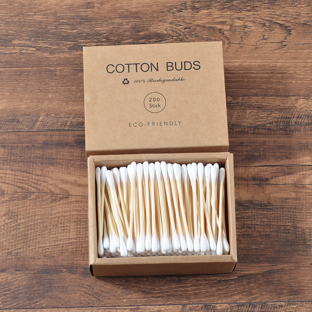Plastic-Free 200Pcs/Box Double Head Bamboo Cotton Buds Adults Makeup Cotton Swab Wood Sticks Nose Ears Cleaning Health Care Tool 3