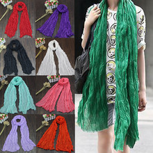 Fashion 20Colors Candy Colors Soft Trendy Long Voile Scarfs Winter Warm Scarf Women Shawl Blue
