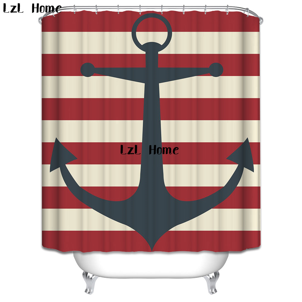 LzL Home Marine Symbol National Flag Shower Curtain Eco-friendly Waterproof Mildewproof Polyester Fabric Bathroom Curtains