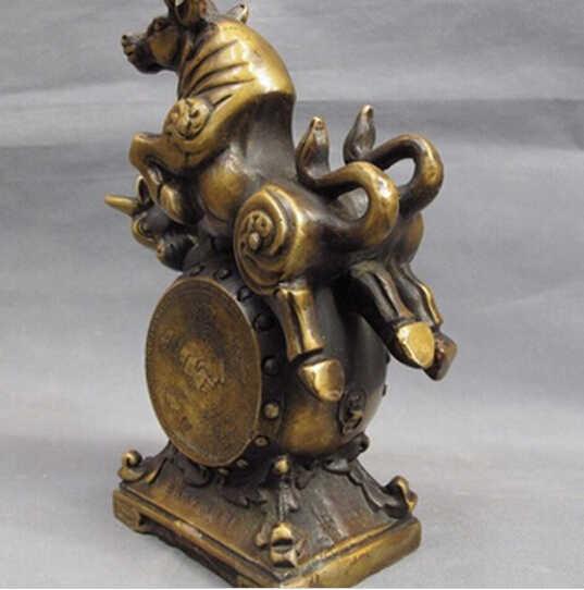 شعار WBY---426 الصينية النحاس والبرونز فنغ شوي ثروة محظوظا سوق الأسهم اثنين تمثال الثور طبل