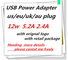 100pcs/OEM AAAAA EU US AU UK plug A1401 12W USB Power Adapter AC home Wall Charger 5.2v 2.4A For iPhone iPad With Retail box