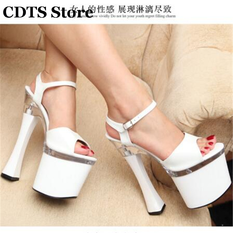 ФОТО CDTS Plus:34-44 Summer Crossdresser sexy high-heeled ladies 20cm thick heel crystal platform Buckle sandals SM shoes woman pumps