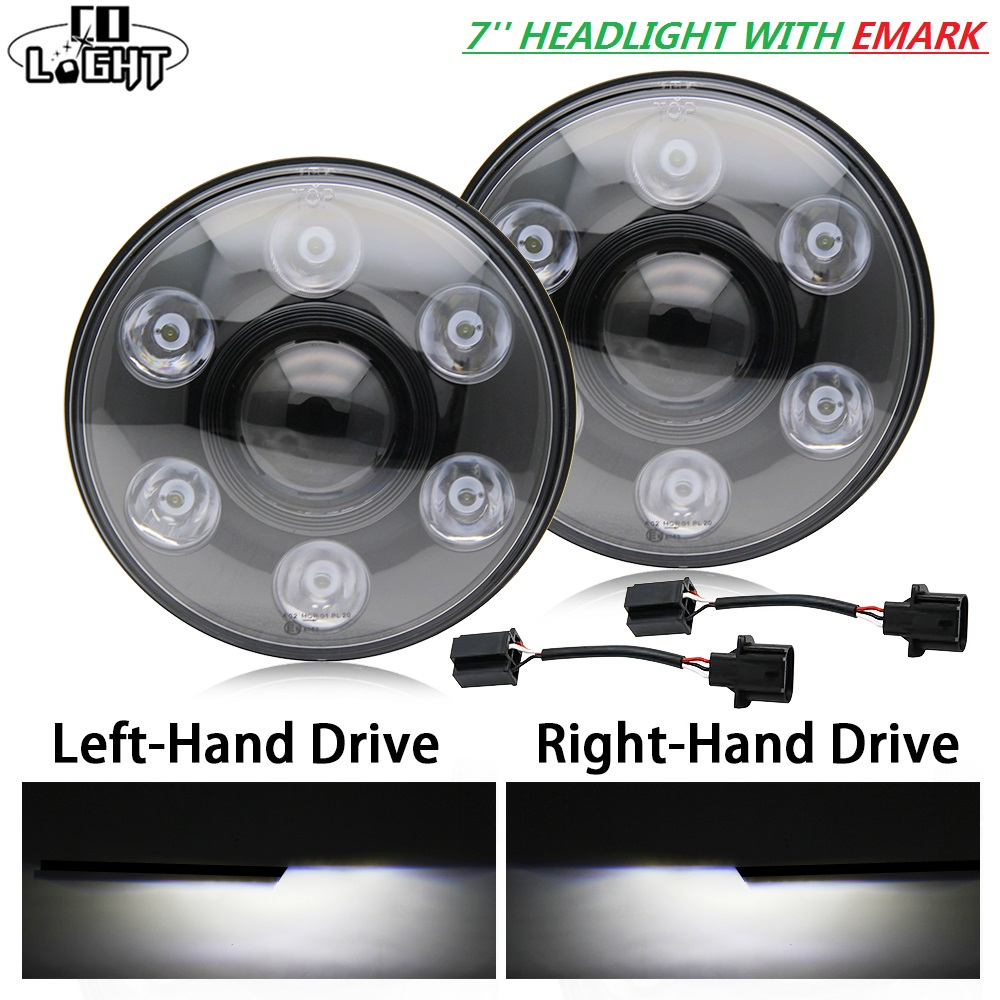 1 Pair 48W 7'' Car Led Drl Round 24W High Low Beam 6000K Daytime Running Lights with Emark for Jeep Lada Uaz Hummer H1 H2 black chrome round 75w high low beam drl led auto headlight driving fog lights for jeep wrangler hummer h1 h2 offroad