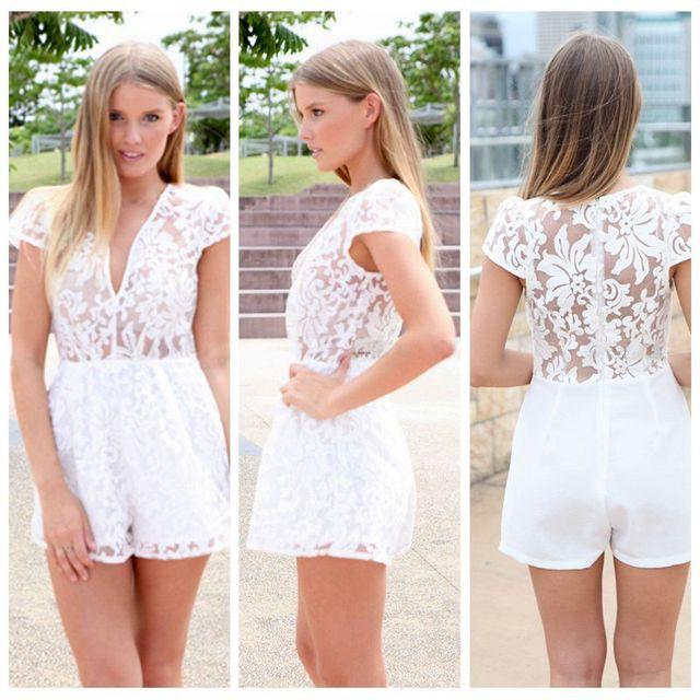b63fa7f90105 Hot Sale 2015 Unique Womens Lace Jumpsuit Rompers White Lace Ladies Rompers  Jumpsuit S M L on Aliexpress.com