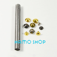100pcs Free Shipping 8mm Cone Rivet Brass Spike Studs Fashion Clothes Biker Rapid Punk Rock Leather Craft With Tool Mix Color