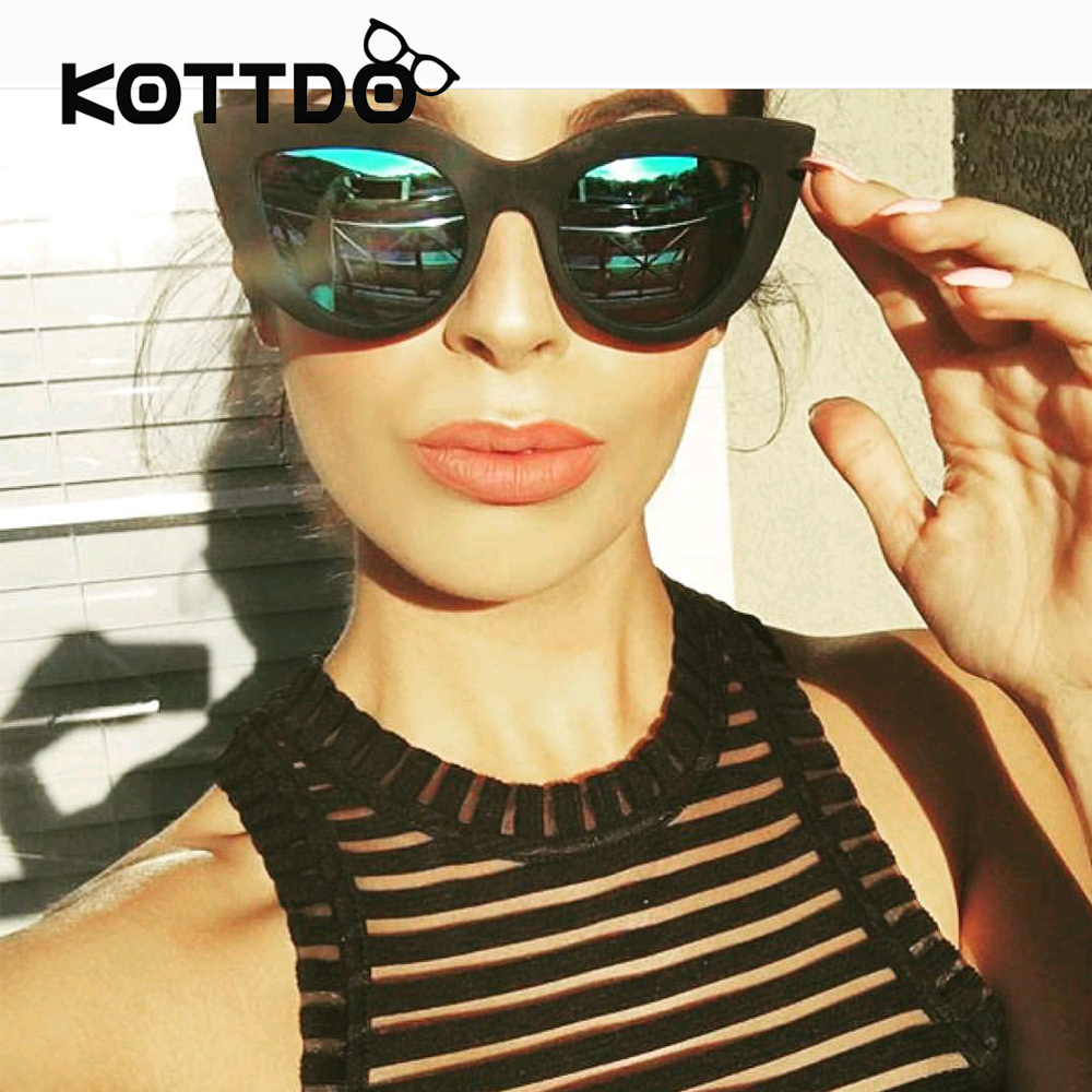 Rose Gold Cat Eye Sunglasses For Women Pink Mirror Shades Female Sun Glasses  Black White Coating Cateye Aviation Oculos 2017-in Sunglasses from Apparel  ... 4ff2ac0be3