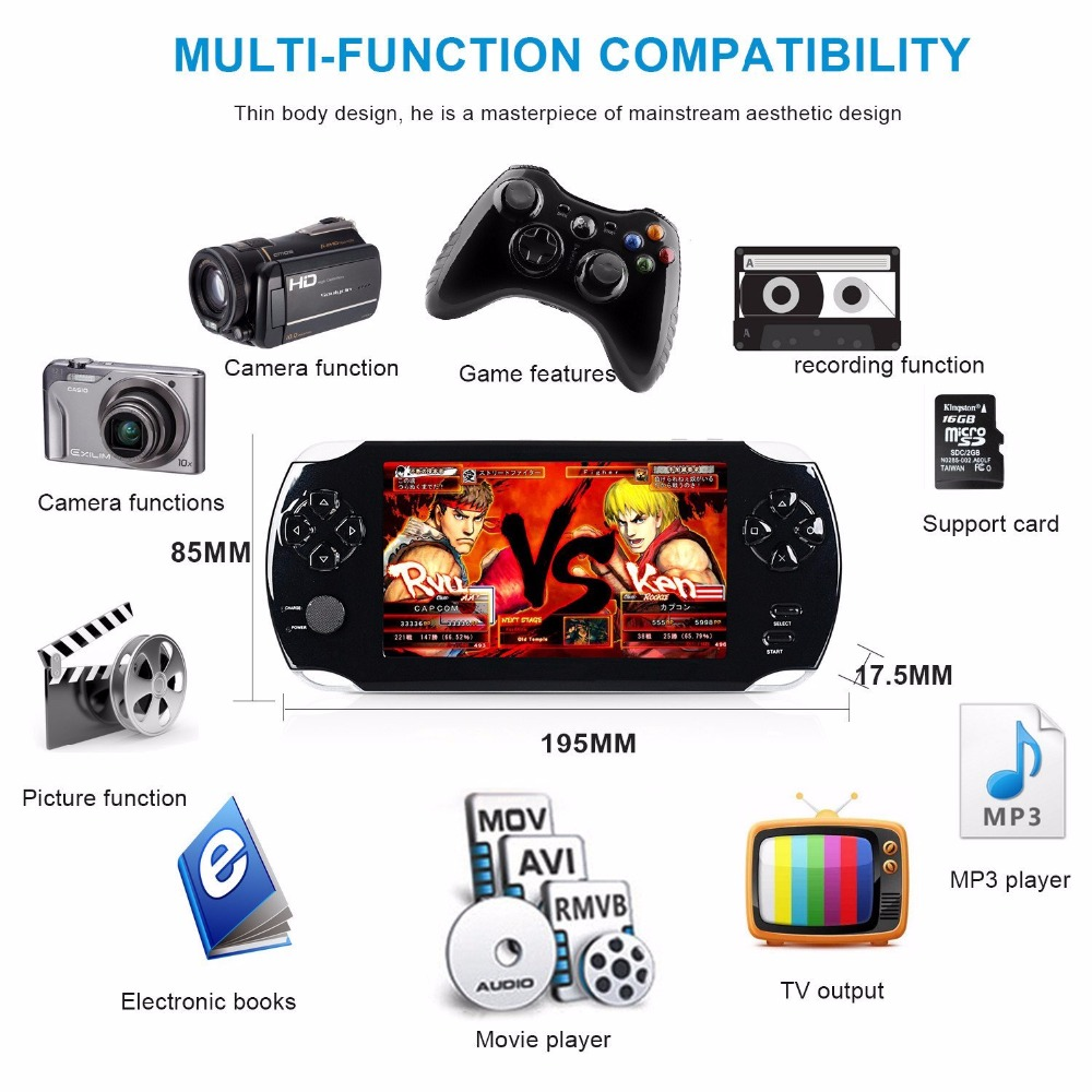 Portable Game Console 5.0 inch HD Handheld Games Player For PSP Multimedia 8G Video Gaming Consoles E-books Support Mini TF Card