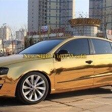 Лучшее качество, гибкая Хромовая Золотая виниловая пленка, фольга, без пузырей, для автомобиля, пленка, Размер: 1,52*20 м