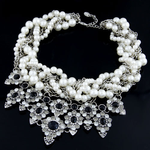 Fashion Choker Collares Maxi Necklace Imitated Gemstone Jewelry Statement Necklaces & Pendants Imitated Pearl Necklace for Women