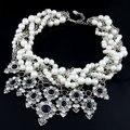 Moda choker collares maxi collar imitado de la piedra preciosa imitado collar de perlas declaración joyería collares y colgantes para las mujeres