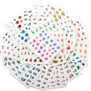 40 листов случайные красочные наклейки для ногтей маленький цветок серии наклейки для ногтей украшения для ногтей наклейки для ногтей-лак с...