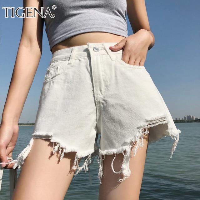 6c683db07ae6 TIGENA Black White Denim Shorts Women 2019 Summer Korean High Waist Ripped  Jeans Booty Shorts Female Femme Hot Short Pants Lady