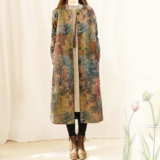 Women Vintage Woolen Print Trench Coat 1
