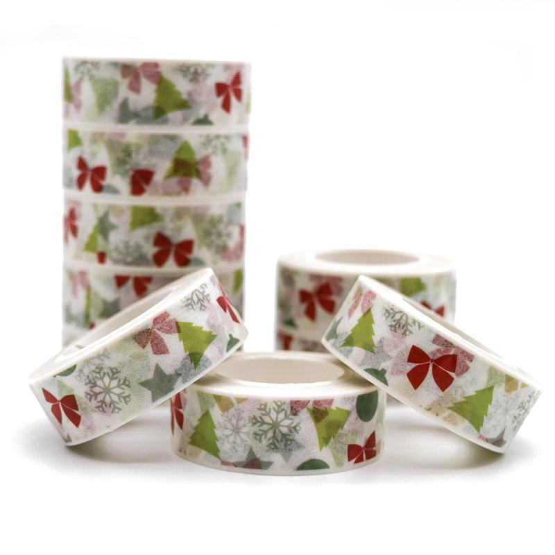 10m*15mm Washi Tape kawaii Christmas Series Tape DIY Decorative Tape Color Paper High Quality Office Adhesive Tapes 1 PCS high quality gold foil 10m paper tape dot strip pineapple heart christmas decorative washi tape 1pcs