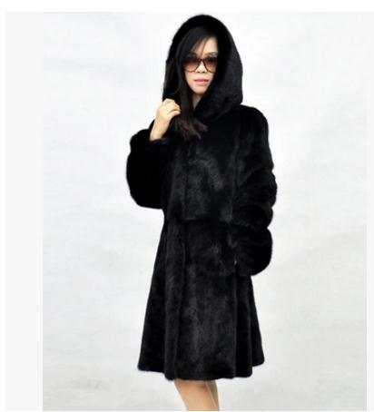 cd6fbf405c placeholder 2019 Newest Womens Hooded Long Section Black/White Fake Fur  Jackets Casual Faux Fur Overcoats