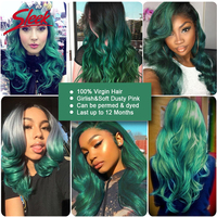 Sleek Colorful Hair 100% Virgin Remy Human Hair Brazilian Body Wave With Closure Honey Green Ombre Bundles Human Hair Extension