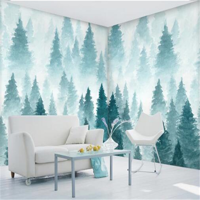 Custom Photo Wallpaper for Walls 3D Murals Nature Trees Wall Papers for Living Room Home Decor Landscape Hand-Painted Wallpapers custom mural 3d room wallpaper landscape sports car scenery wall papers home decor 3d wall murals wallpaper for walls 3 d