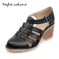 Big Size 34 43 Rome T Straps Buckle Close Chunky Heels Summer Shoes Round Toe Outdoor Casual Dress Girl Women Gladiator Sandals