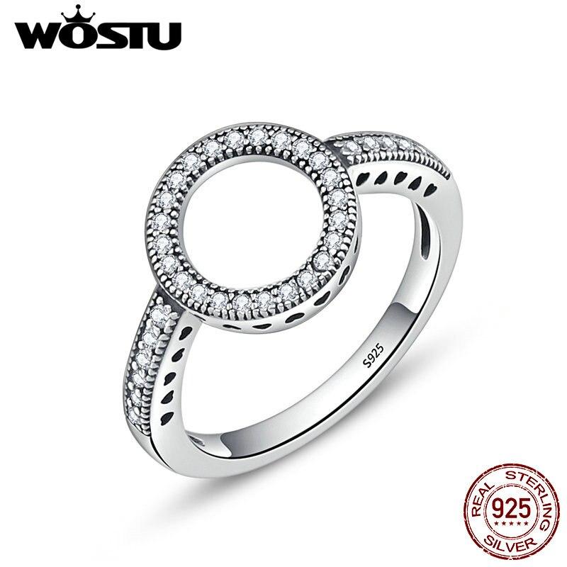 WOSTU 2018 Heißer Verkauf Echt 925 Sterling Silber Glück Kreis Finger Ringe Für Frauen Mode Schmuck Geschenk CQR041