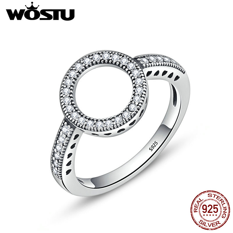 WOSTU 2018 Hot Sale Real 925 Sterling Silver Lucky Circle Finger Rings For Women Fashion Jewelry