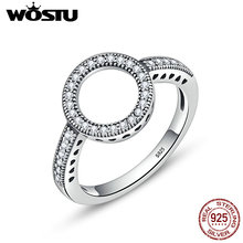 WOSTU 2018 Лидер продаж натуральной 925 пробы серебро Повезло Кольца Круглые Пальцы для Для женщин Модные украшения подарок CQR041