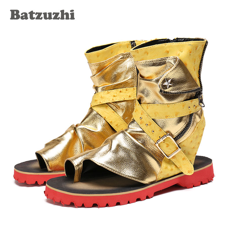 Rock Mens Shoes Gold Leather Mens Sandals Summer Rome Sandalias Mujer 2018 Ankle Sandal Shoes Men Zip Gladiator, Big Size US12Rock Mens Shoes Gold Leather Mens Sandals Summer Rome Sandalias Mujer 2018 Ankle Sandal Shoes Men Zip Gladiator, Big Size US12