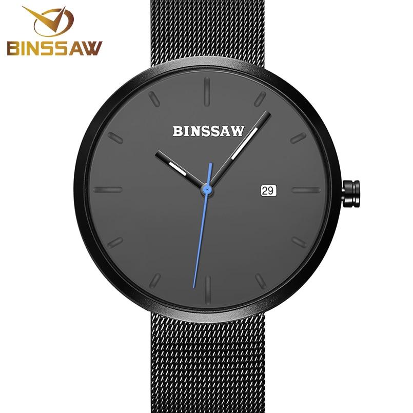 BINSSAW 2017 marca de lujo superior Amantes del oro correa de malla - Relojes para hombres - foto 3