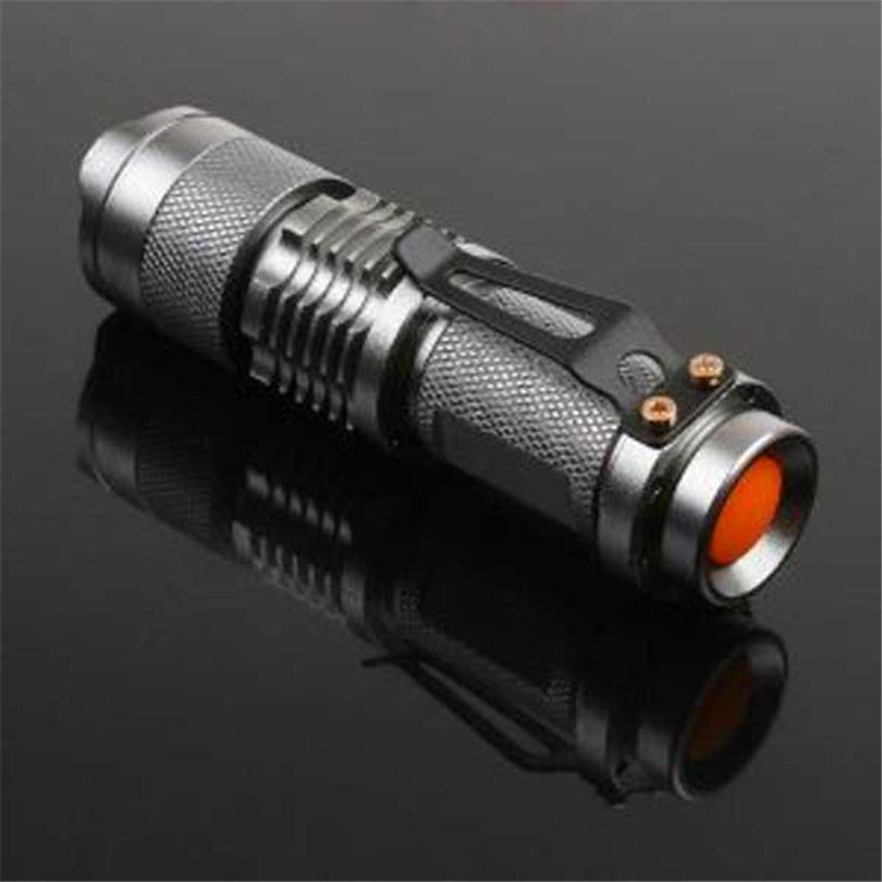7W 300LM Mini LED Flashlight Torch Adjustable Focus Zoom Light Lamp Silver powerful led flashlight laser pointer #4S19 (1)