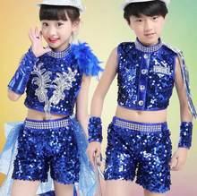 Muchacha del muchacho de los niños lentejuelas tops + shorts moderno Jazz  Hip Hop Dance trajes dancewear ropa vestuario teatral . 3e240f83b3c