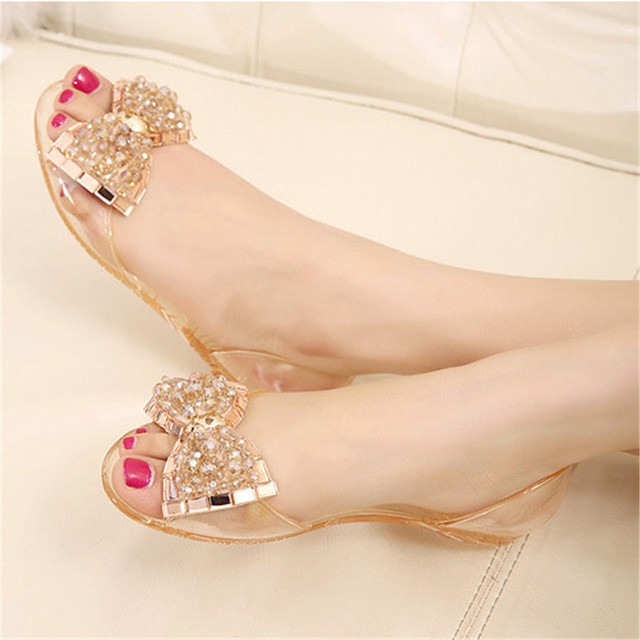 Summer sandals jelly crystal bow beaded sandals women s comfortable  drazzling rhinestone transparent clear flat shoes caf71453f35f