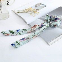 YJSFG HOUSE 1pcs Ladies Headbands Elastic Hair Bands Chiffon Bow Scrunchies Women Rubber Rope Ponytail Holder Floral