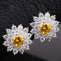 Lady 6mm Round Stone Yellow Citrine 925 Sterling Silver Piercing Studs Earrings E006