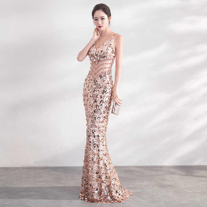 3c8759eb6b7 ... JaneVini Sexy Bling Rose Gold Sequins Bridesmaid Dresses Long Mermaid  Shiny Wedding Guest Dress V Neck ...