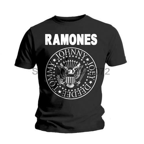 Ramones-dichtung Logo Herren Kurzarm Baumwolle Schwarz T-shirt-neue & Offizielle Einen Einzigartigen Nationalen Stil Haben