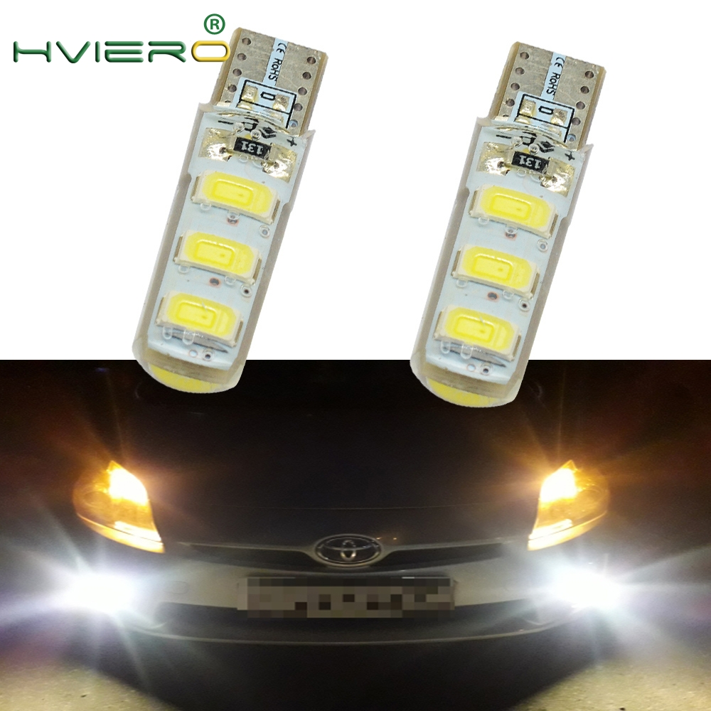 2X Auto LED 194 501DC 12V Canbus 6SMD 5630 Silicone Lights Cob Marker Tail Light Side Wedge Led Parking Fog Auto Lamp