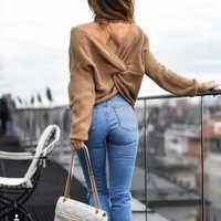 Jersey con diseño retorcido en la espalda con cuello en V colorido más nuevo para mujeres jumpers de otoño jerseys de punto de manga larga