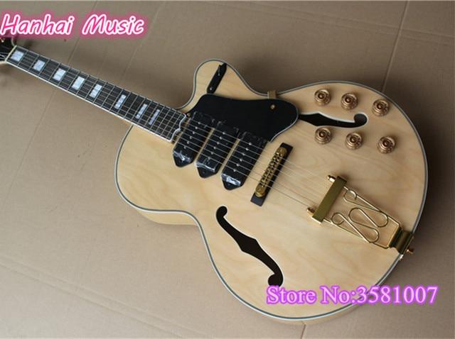 6 String Electric Guitarsemi Hollow Maple Body3 P90 Pickupsgold