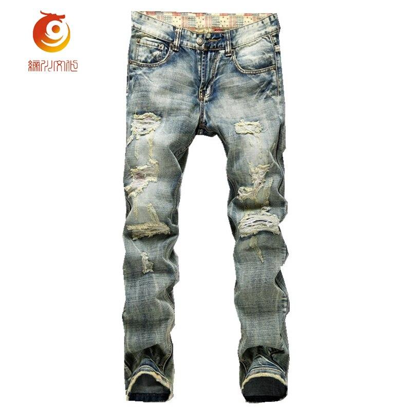 2017 New Light Blue Destroyed Mens Slim Straight Jeans Hip Hop Vintage Distressed Hole Denim Long Trousers Slim Fit Washed Pants