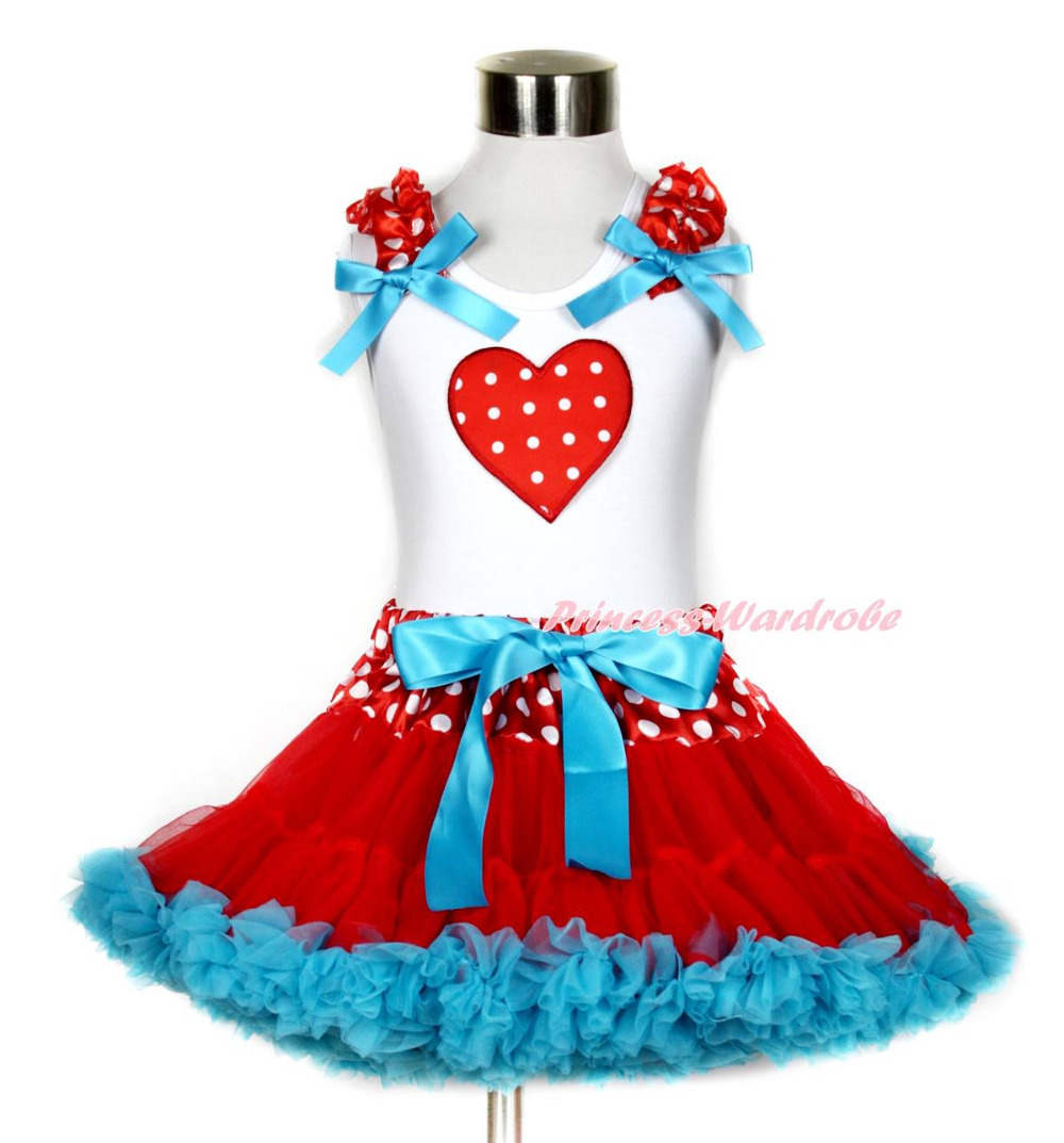 Valentine Red White Dot Heart White Top Minnie Waist Peacock Blue Skirt Set 1-8Y MAPSA0214 megashopping green bowknot white dot favor wedding valentine gift boxes sold individually