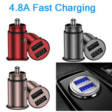 5V / 4.8A MINI Zinc Alloy Dual USB Car Charger Smart QI Fast Charging Cigarette Lighter 12V 24V /USB Sync Data FOR PHONE auto(China)