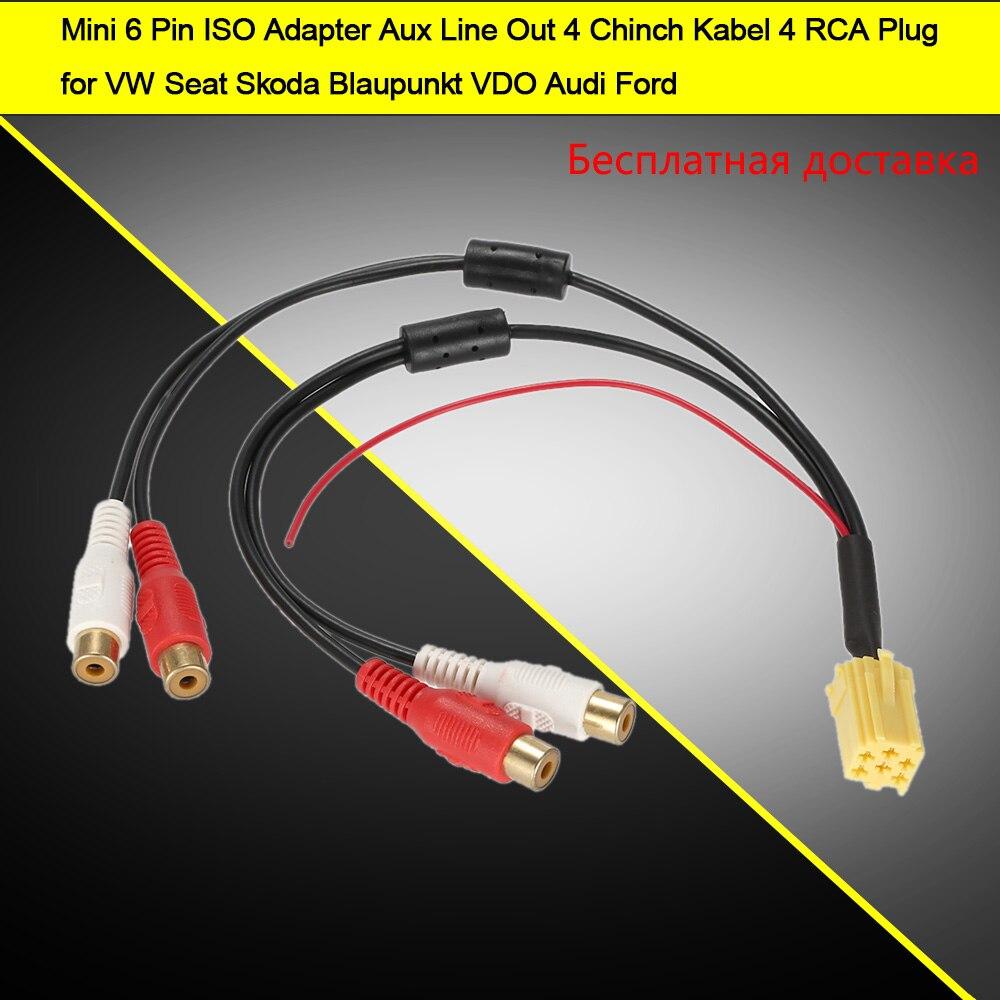 Autorradio adaptador mini-ISO 5 cinch conector line out becker Blaupunkt Grundig