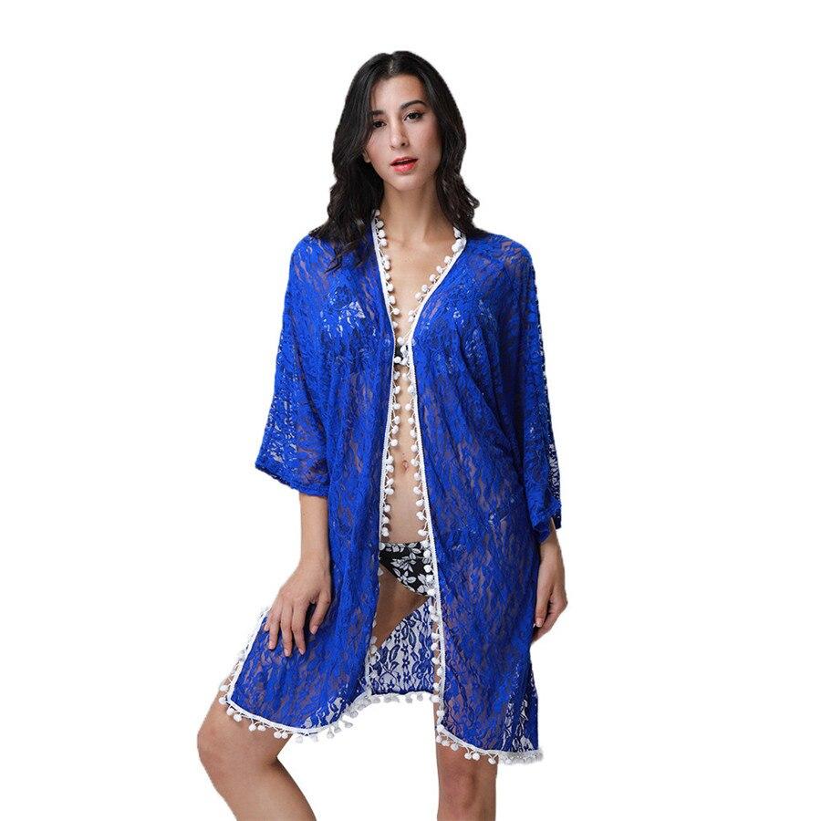 Long lace cardigan - 2017 New Design Women Summer Casual Long Lace Shirt Cardigan Loose Beach Sunscreen Blouses Clothing