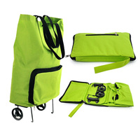 New High Quality Green Portable Reusable Bags Oxford Cloth Rolling Folding Extend Dual Wheel Shopping Cart