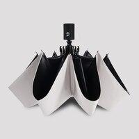Automatic Parasol Black Plastic Folding Sun Umbrella Sun Protection UV Female Super Strong Aluminum Alloy Three Fold Umbrella 13